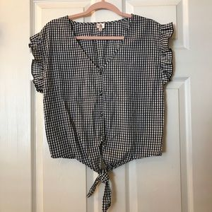 Tops - Gingham Ruffle Sleeve Button Front Tie Blouse